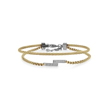 Yellow Chain & Cable Intermix Bracelet with 14kt White Gold & Diamonds