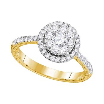 14kt Yellow Gold Womens Round Diamond Round Bridal Wedding Engagement Ring 7/8 Cttw