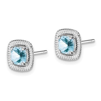 Sterling Silver Rhod-plat Aquamarine Square Post Earrings