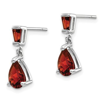 14k White Gold Garnet Dangle Post Earrings