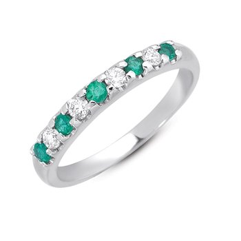 Emerald & Dia White Gold Band