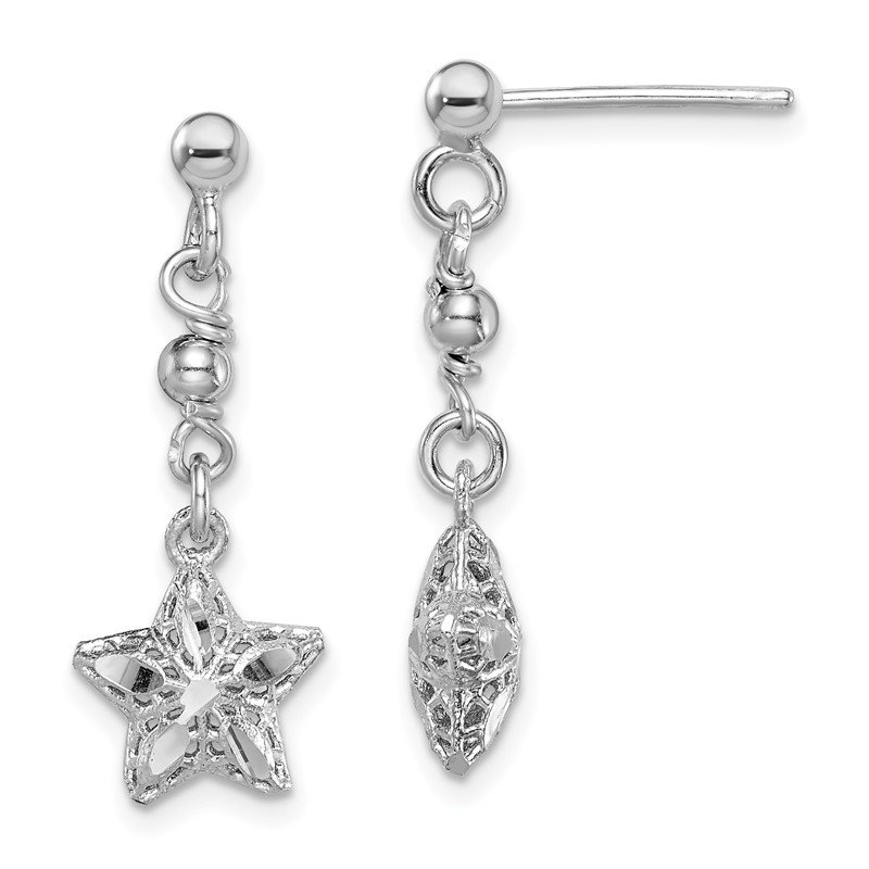 Quality Gold Sterling Silver Rhodium-plated D/C Mesh Star Dangle Post Earrings