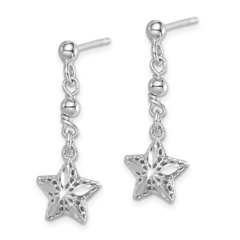 Sterling Silver Rhodium-plated D/C Mesh Star Dangle Post Earrings