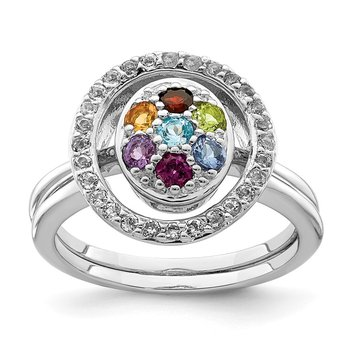 Sterling Silver Rhodium-plated Multi-gemstone w/Halo 2 Ring Set