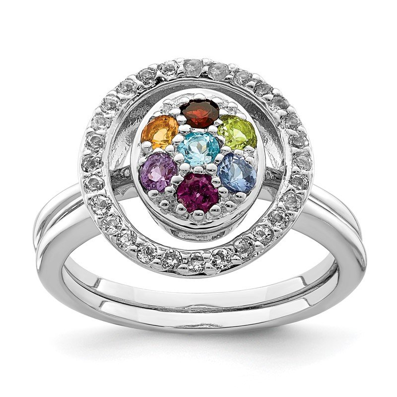 Quality Gold Sterling Silver Rhodium-plated Multi-gemstone w/Halo 2 Ring Set