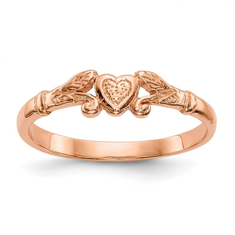 J.F. Kruse Signature Collection 14K Rose Gold Textured Mini Heart Baby Ring