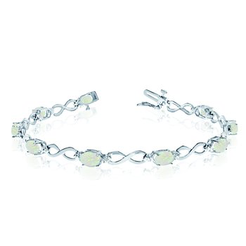 10K White Gold Oval Opal and Diamond Bracelet