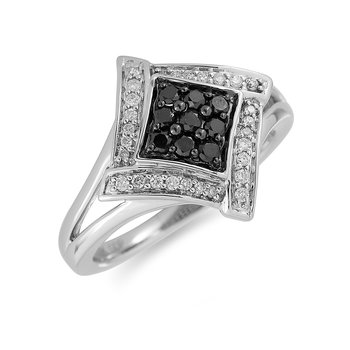 14K WG Black Diamond Ring