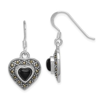 Sterling Silver Onyx Heart Marcasite Heart Earrings