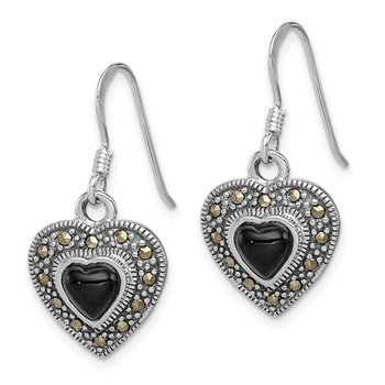 Sterling Silver Onyx Heart Marcasite Earrings