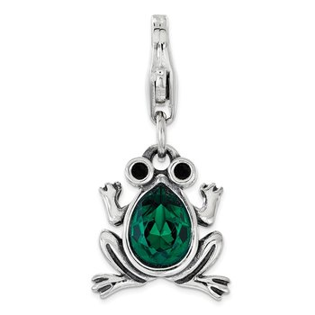 Sterling Silver Green Swarovski Frog with Lobster Clasp Charm