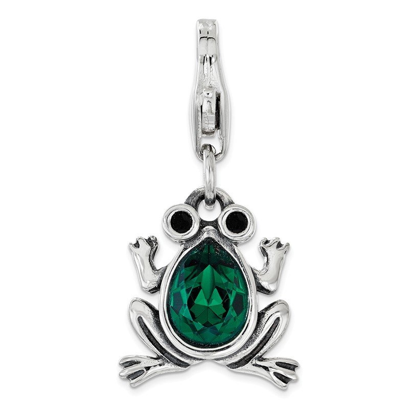 Quality Gold Sterling Silver Green Swarovski Frog with Lobster Clasp Charm