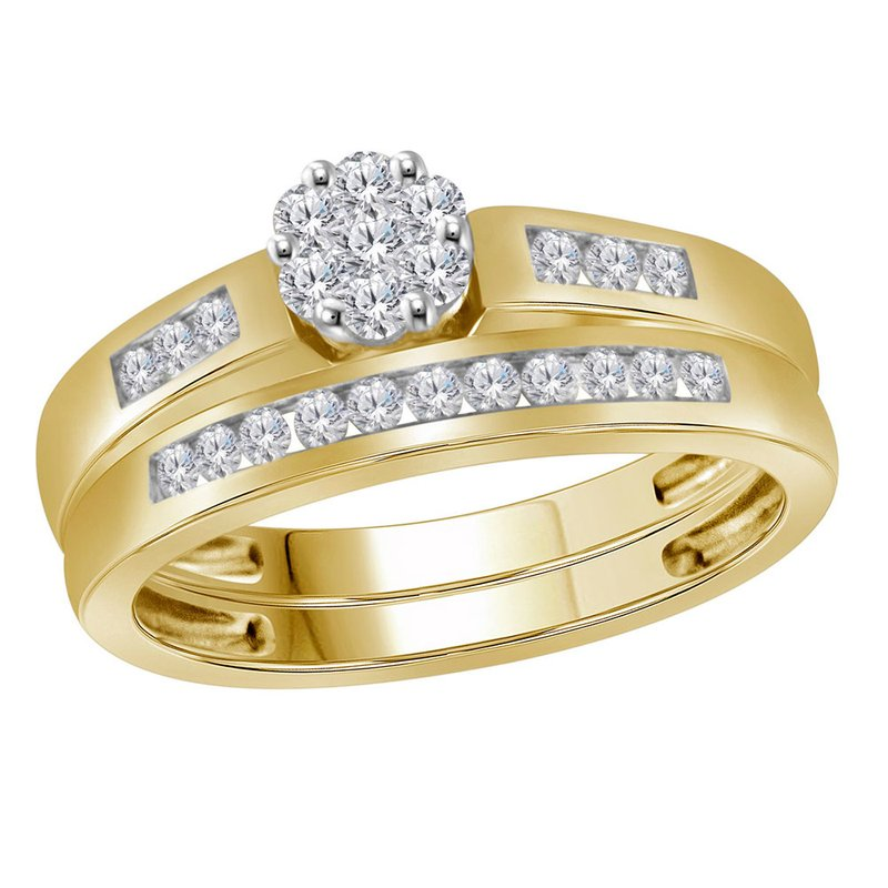 Kingdom Treasures 10kt Yellow Gold Womens Round Diamond Cluster Bridal Wedding Engagement Ring Band Set 1/2 Cttw