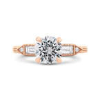 18K Rose Gold Round and Baguette Diamond Engagement Ring (Semi-Mount)