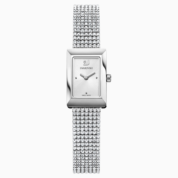 Memories Watch, Crystal Mesh strap, White, Stainless steel