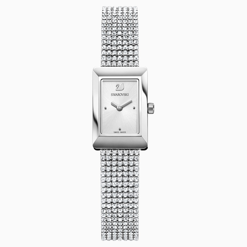 Swarovski Memories Watch, Crystal Mesh strap, White, Stainless steel