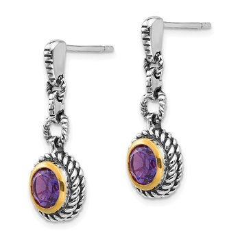 Sterling Silver w/Gold-tone Flash Gold-plated Amethyst Earrings