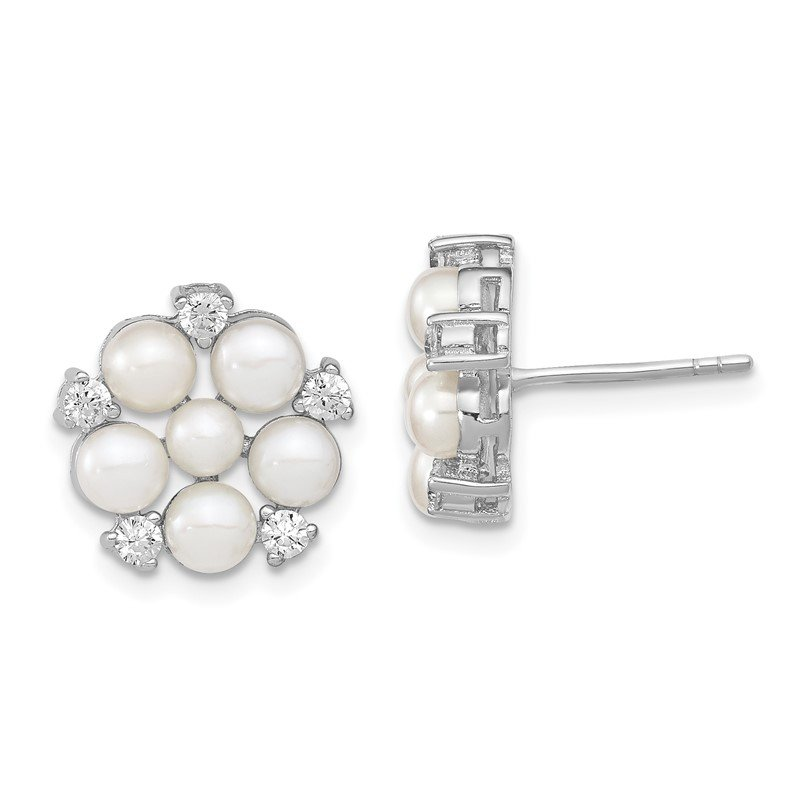 Quality Gold Sterling Silver RH 3-5mm White Button FWC Pearl CZ Post Earrings