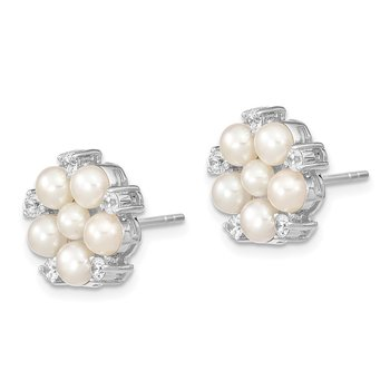 Sterling Silver RH 3-5mm White Button FWC Pearl CZ Post Earrings