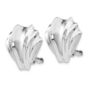 14k White Gold Polished Fancy Omega Back Post Earrings