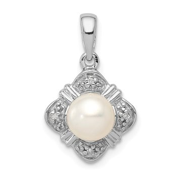 Sterling Silver Rhodium FW Cultured Pearl & Diamond Pendant