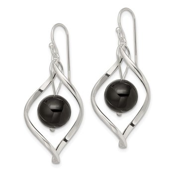 Sterling Silver Twist Dangle Onyx Earrings