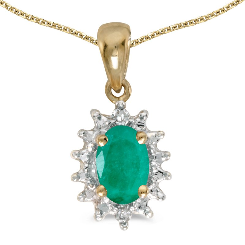 Color Merchants 14k Yellow Gold Oval Emerald And Diamond Pendant