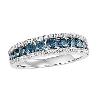 14K Blue & White Diamond Band 1 1/5 ctw