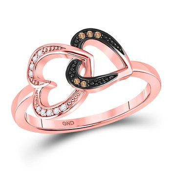10kt Rose Gold Womens Round Brown Color Enhanced Diamond Double Heart Ring 1/20 Cttw