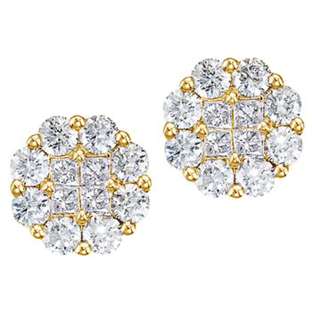 14K Yellow Gold 1.50 ct Diamond Clustaire Stud Earrings
