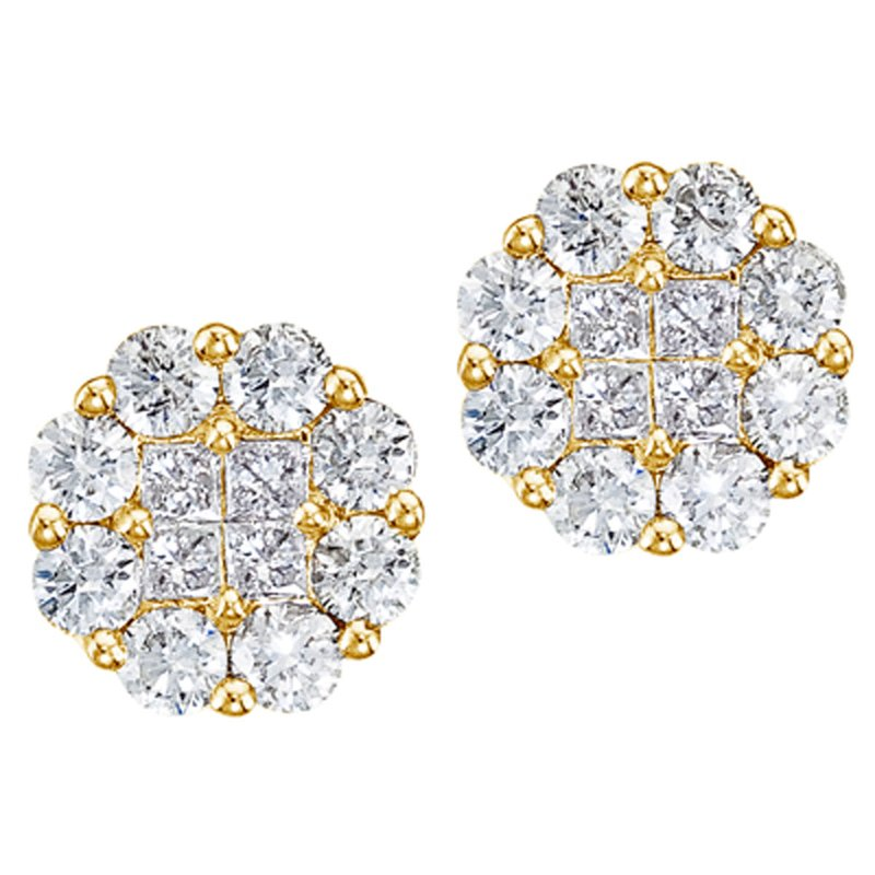 Color Merchants 14K Yellow Gold 1.50 ct Diamond Clustaire Stud Earrings