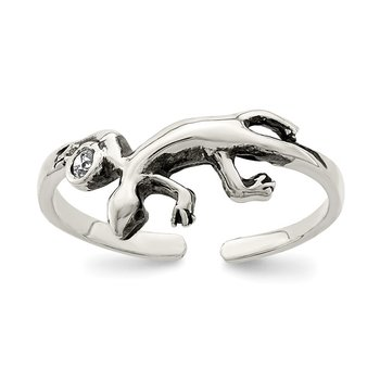 Sterling Silver Antiqued Lizard CZ Toe Ring