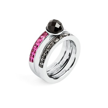 316L stainless steel, onyx, silver night and fuchsia Swarovski® Elements crystals.