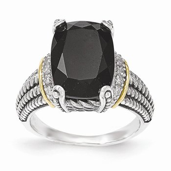 Sterling Silver w/14K Black Onyx & White Diamond Ring