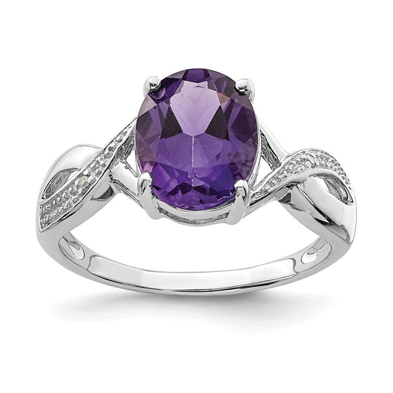 Quality Gold Sterling Silver Rhodium Amethyst & Diamond Ring