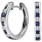 Tesoro Ladies Fashion Diamond and Sapphire Hoop Earrings