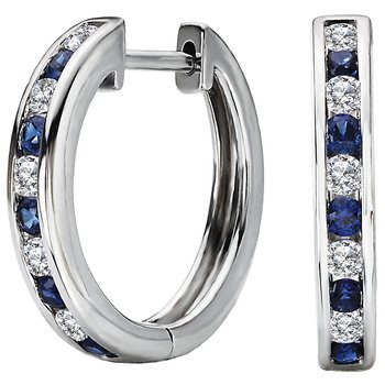 Ladies Fashion Diamond and Sapphire Hoop Earrings