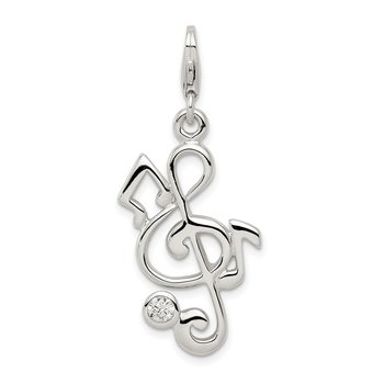 Sterling Silver Treble Clef and CZ Charm