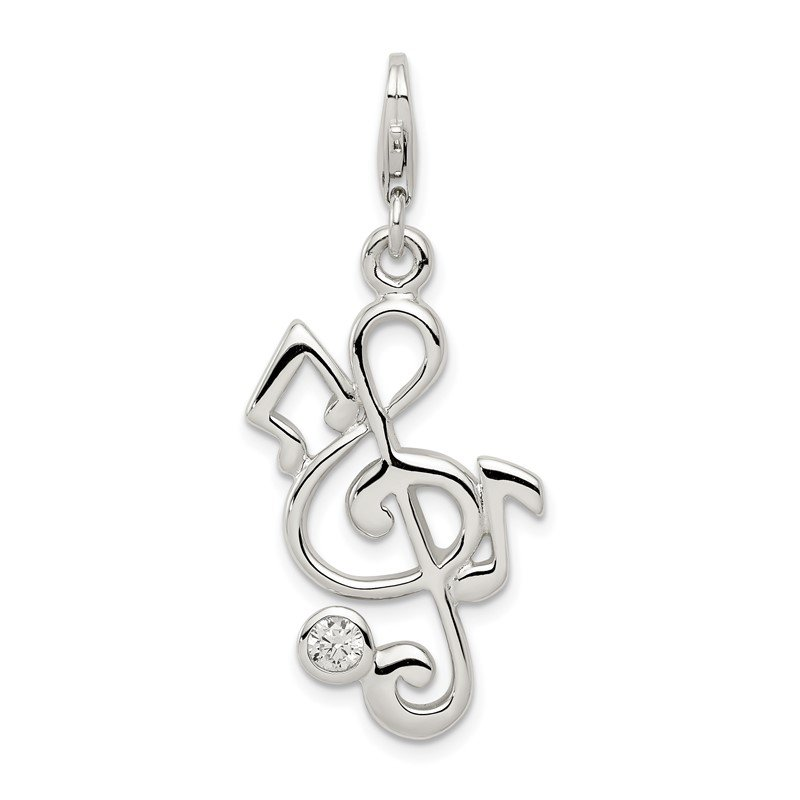 Quality Gold Sterling Silver Treble Clef and CZ Charm
