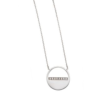 14K Gold Diamond SOHO Half Disc Necklace