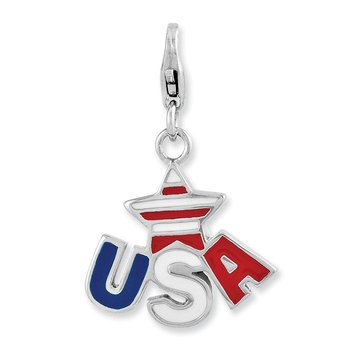 Sterling Silver Enameled Star USA Logo w/Lobster Clasp Charm