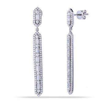 14K Beautiful Long Hexagon Shaped Earrings with 14 Baguette Diamonds 0.39C T.W. & 182 Round Diamonds 0.73C T.W.