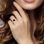 ASHI trillion shape gemstone & diamond ring