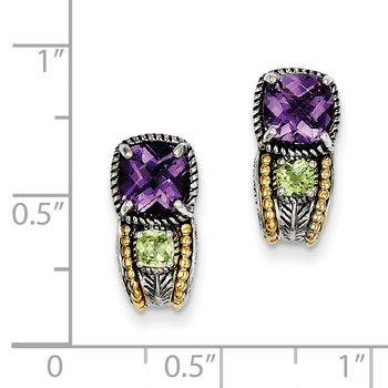 Sterling Silver w/14k Amethyst & Peridot Earrings