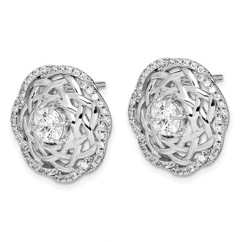 Sterling Silver Rhodium-plated 5mm CZ Center Woven Post Earrings