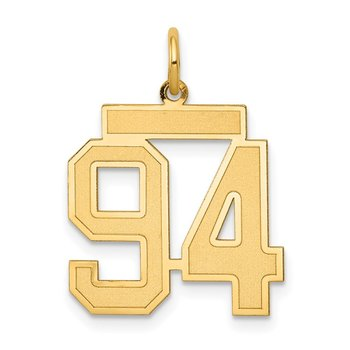 14k Medium Satin Number 94 Charm