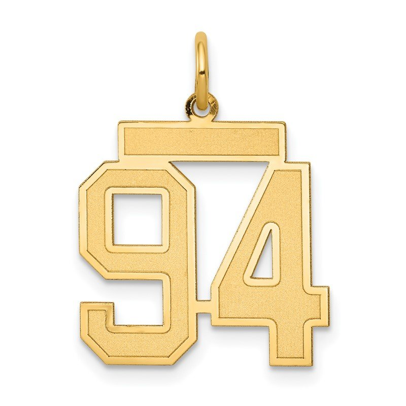 Quality Gold 14k Medium Satin Number 94 Charm