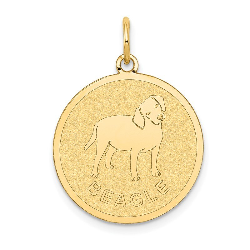 Quality Gold 14k Beagle Disc Charm