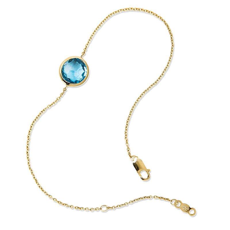 Colore Oro Blue Topaz Layering Bracelet in 14K Yellow Gold