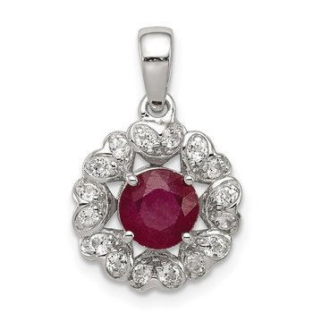 Sterling Silver Rhodium Plated White Topaz & Glass Filled Ruby Pendant